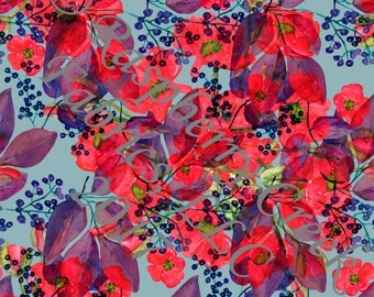 Blue Red and Grey Poppy Floral in Rayon Challis, 1 Yard