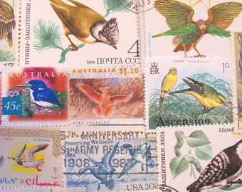 Fine Feathered Friends 50 Vintage Birds Postage Stamps Ornithology Twitter Tweet Duck Toucan Owl Raptor Tweet Fly US Worldwide Philately 2