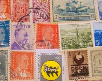 Turkish Delights 50 Vintage Republic of Turkey Postage Stamps Türkiye Cumhuriyeti Istanbul Constantinople Ottoman Empire Gypsy Scrapbooking