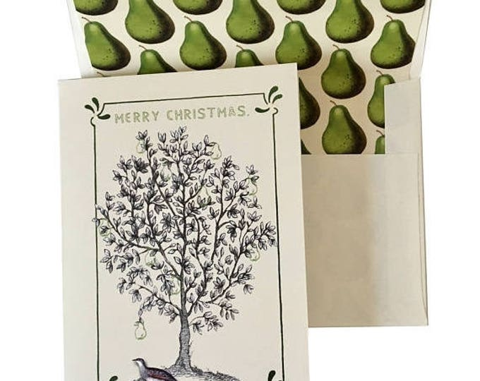 BLACK FRIDAY SALE Partridge and Pear Tree Christmas Card or Thanksgiving Green Ivory Pear Scented