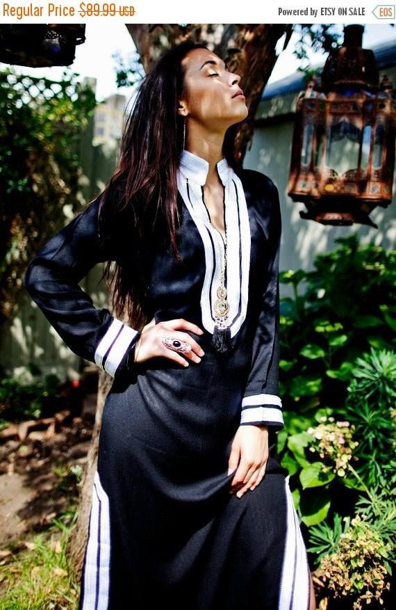 25% OFF Autumn Sale// Kaftan Autumn Mariam Style Black White Caftan Kaftan- perfect for loungewear,resortwear, winter dresses, birthday gift
