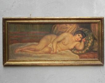 Large Renoir Reclining Nude (Gabrielle), Femme nue couchée, Antique Reproduction