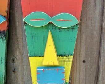 LULU, Rustic Wood Tiki Mask, Colorful Tiki Man, Primitive, Hand Made Wood Sculpture