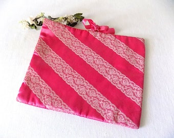 Schiaparelli Stockings/Lingerie Boudoir Bag in Hot Pink Satin and Lace Motif