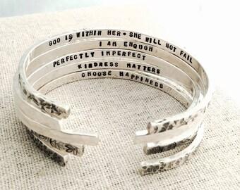secret message cuff bracelet, motivational gift for her, graduation gift, stacking layering cuff bracelet, organic leaf, malisay designs