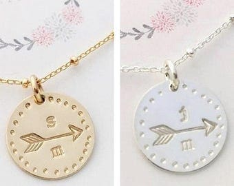 gold initials necklace, silver or gold, follow your arrow, wedding day anniversary, simple Valentines's Day stamped jewelry, malisay designs