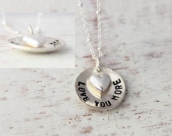 love you more necklace, heart charm necklace, i love you more, hand stamped sterling silver necklace, mother and child necklace