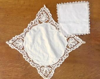 Two Vintage Lace Doilies, Diamond, Square Pillowcase