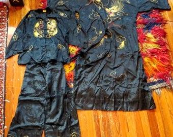 Rare 30s/40s 3 Piece Japanese Silk Dragon Loungewear
