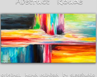 """Sale Original Abstract Painting Wall Art Oil Painting 48""""x24"""" Canvas  Original Modern Home Deco, Wall Hanging, Abstract Colors by Tim Lam"""
