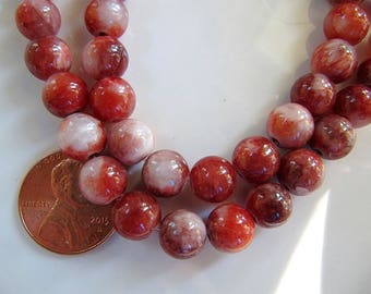 8mm Mountain JADE Beads in Brick Red, Rust Orange and Cream, Dyed, Round, 1 Strand 16 Inches, Approx 47 Beads Gemstone Beads
