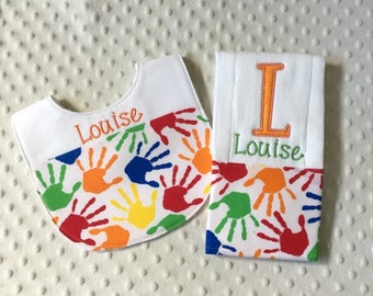 Baby Girl Personalized 2 Piece Gift Set  - Bib and Burp Cloth- Baby Hands in Primary Colors