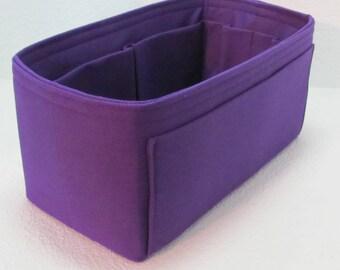Ready to Ship .. Neverfull MM Snug 12x6x6.w/iPad pocket, Vinyl ....Purse Insert ORGANIZER Purse Shaper ...Purple(1A)