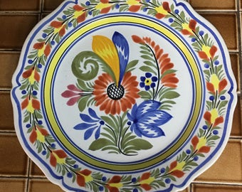 French Country Quimper Plate Pierced for Wall Hanging