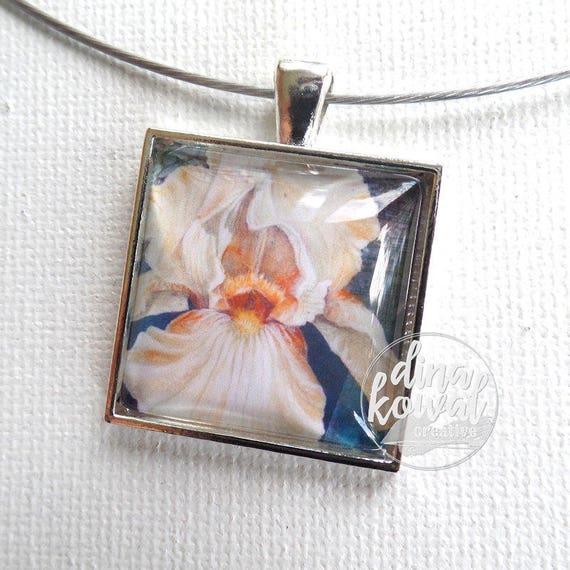 Iris - peach - domed glass tile pendant necklace