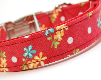 Handmade Dog Collar - Bouqet with Polka Dots - Custom Made Red Dog Collar with white polka dots and blue yellow flowers
