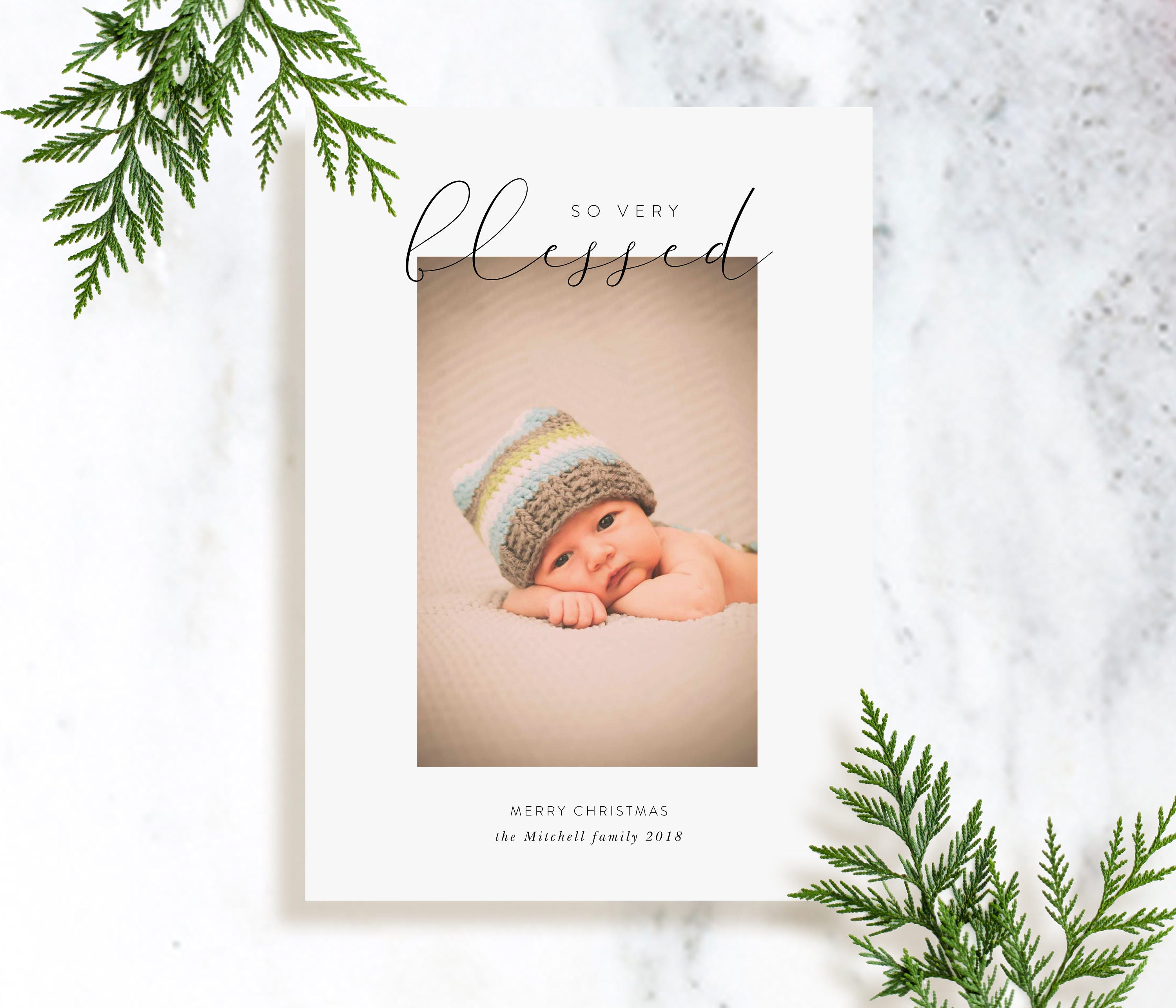 Custom Photo Holiday Cards With Printed Decorative Backer Blessed