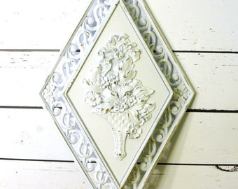 Distressed Shabby Chic French Cottage Wall Plaque with Flowers, Upcycled Syroco Wall Decor, Country Cottage Decor