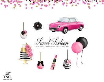 Sweet Sixteen Decorations - Quinceanera Clipart - Sweet Sixteen Printables, Party decorations, Invitation Clip art - Commercial use clip art