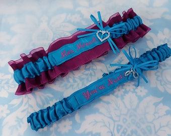 Wedding garter set  malibu garters - raspberry garters - You're Next garter - Name garter - Mrs Garter - garter set - surname garter - heart