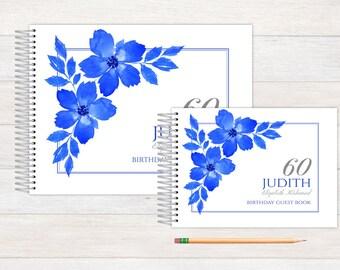 Birthday Guest Book, Birthday Guestbook, Birthday, Custom GuestBook, Personalized GuestBook, Birthday Registry Book, blue floral birthday