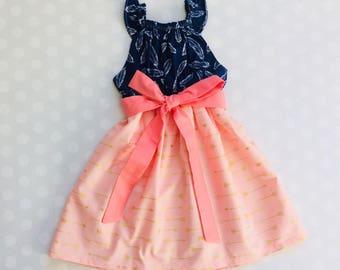 Feather and Arrow Dress - Arrow Dress - Feathers and Arrows - Feather - Arrow - Baby Girl Dress - Girls Dresses - Sleeveless Dress - Summer