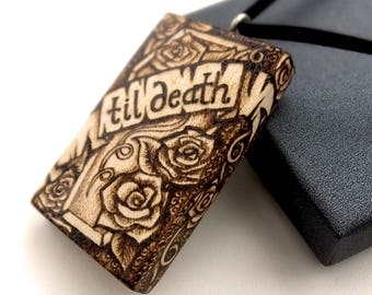 For Danielle 'til death' Coffin and roses pyrography sycamore wood pendant