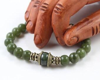 Natural Jade Bracelet, Green Jade Bracelet, Jade Mala Bracelet, Stretch Bracelet, Mala Bracelet, Green Jade Mala, Mens Jade Bracelet, Yoga
