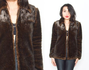 90's Black Faux Fur Coat. Long Sleeves. Size -S/M. 90's Mod Grunge Vintage
