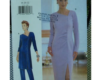 Geometric Neck Dress Pattern, Tunic, Pants, Princess Seams, Side Gather, Long Sleeves, Hemline Slit, Vogue No. 7172 UNCUT Size 18 20 22