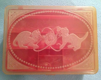 Vintage Sewing Box with Kittens and Yarn
