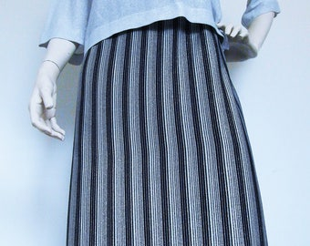Long Cool Bubbly  - metallic vintage 60s long skirt - silver with black strips