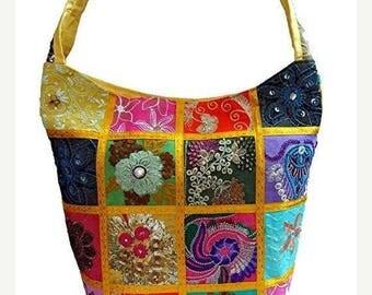 25%Off Embroidered Sequin Patchwork Sling Cross body Shoulder Bag, Boho Hobo Vintage Bag