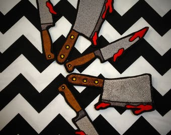 bloody knife or bloody cleaver sew on or iron on patch