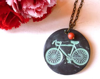 Bicycle Necklace - Bike Necklace - I Heart Bike - Bicycle Necklace - Vintage Bike