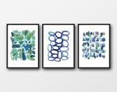 Wall art set of 3 prints, watercolor paintings set blue green watercolor  prints, abstract art prints, nautical style
