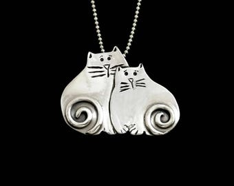 Kitty Lover's Jewelry, Sterling Cat Necklace, Unusual Jewelry Gift For Women, Robin Wade Jewelry, Kitties Luna And Luka Are Friends,   2551