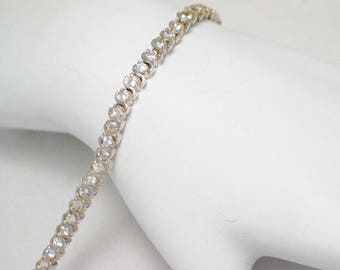 Sterling silver cz tennis link Bracelet round circle cubic zirconia gemstone chain European made Italy size 7 inch womens fine jewelry