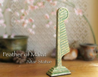 Feather of Ma'at Altar Statue - Symbol of Goddess Ma'at - Feather of Truth -Handcrafted Polymer Clay Statue -Aged Golden Brass Patina Finish