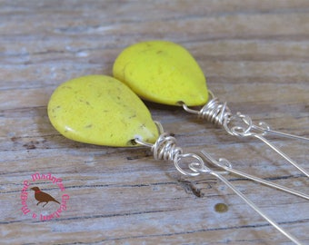 Yellow Turquoise Teardrop Statement Earrings, Yellow Turquoise Statement Earrings, by MagpieMadness for Etsy