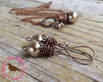 Bronze Swarovski Pearl Long Boho Earrings, Wire Wrapped Brown Pearl Earrings, Antiqued Copper Wire Earring, by MagpieMadnessJewelry for Etsy
