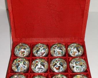 Vintage Chinese Horoscope Boxed Set of 12 Tiny Porcelain Bowls