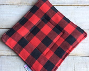 Pot Holder, Hot Pad, Potholder, Fabric Pot Holder, Fabric Hot Pad, Oven Potholder, Oven Hot Pad, Kitchen Potholder-Red Plaid