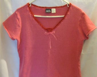 Sweater Misses' Size XL Short Sleeve V Neck Pink Pullover