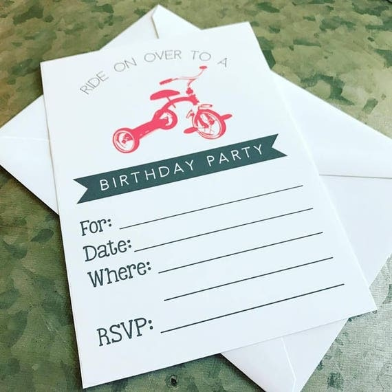 Tricycle Birthday Invitation FILL IN