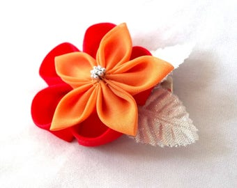 Striking Red and Peach Hair Flower with Silver Wearable Fiber Art Kanzashi Clip