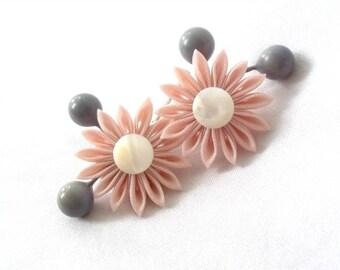 Cute Pink Flower Bobby Pins Tsumami Kanzashi Hair Flowers