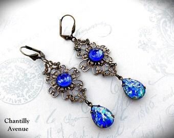 Sapphire Blue Glass Opal Victorian Earrings, Flower Earrings, Long Dangle Earrings, Victorian Jewelry, Glass Jewel Bohemian Jewelry