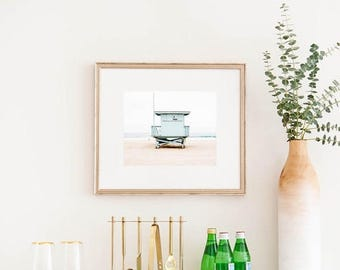 "SALE Framed Wall Art, Beach Photography, Lifeguard Tower, Framed Beach Print, Wall Decor, Beach House, Coastal Wall Art, Large Wall Art ""S."