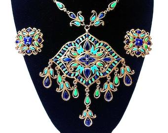 VENDOME Ornate Enamel Bib Necklace and Clip-On Earring Demi / Set